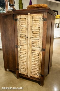 DISTRESSED ACCENT CABINET WITH SHUTTER DOORS $576