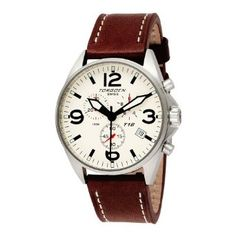Torgoen Swiss Men's T16103 Aviation Chronograph Beige Dial Leather Strap Watch: Watches: Amazon.com