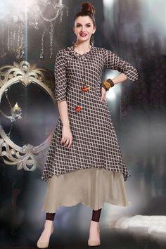 89ce68ec1983a Brown Cotton Applique Embroidered Designer Kurti-WKR1163