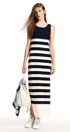 TWIN-SET Simona Barbieri, 2016 Summer collection: striped Milano stitch jersey long tank top dress, code KS62LN.