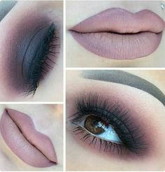 Makeup totally brown with dark lips