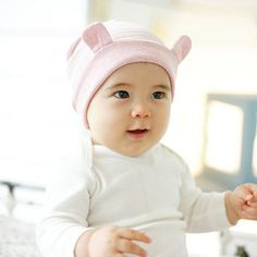 Striped Cotton Baby Beanie with Ears