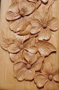 Wood Carving, Dogwood Flowers, Real Flat With Vived Detail