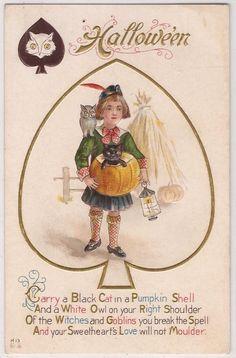 Halloween Postcard NASH Playing Card Series SPADE Boy w/ Black Cat in JOL Unused | eBay