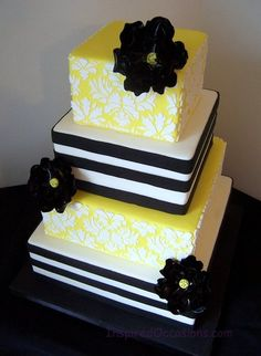 Black and Yellow Damask Cake- Prefer navy blue and yellow. Unique Cakes, Elegant Cakes, Creative Cakes, Gorgeous Cakes, Pretty Cakes, Amazing Cakes, Cupcakes, Cupcake Cakes, Square Wedding Cakes