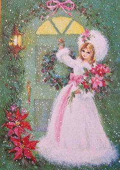 Vintage Christmas Pink Fur Lady Poinsettias Graphic Image Art Fabric Block Doodaba - Gifts and Costume Ideas for 2020 , Christmas Celebration Shabby Chic Christmas, Old Fashioned Christmas, Christmas Scenes, Christmas Past, Christmas Greetings, Christmas Villages, Silver Christmas, Crochet Christmas, Victorian Christmas