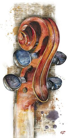 L'Art et Beauté d'une peinture: Le haut d'un VIOLON. (Pinterest) Violin Music, Cello Art, Art Music, Saxophone, Orchestra, Spiritual Paintings, Noten, Cellos, Violin Painting