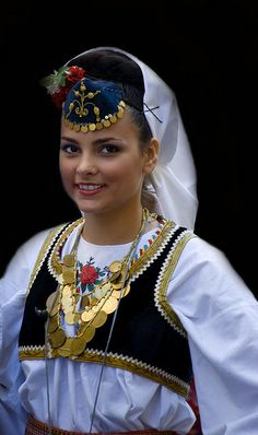 Bosnian girl in her traditional costume