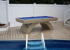 Custom Outdoor Pool Table 100% Waterproof Design All Aluminum Construction  Outdoor Pool Table, Pool