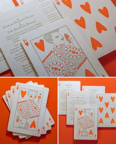 Neon Orange + Gold Letterpress Playing Card Wedding Invitations | Printing by The Hungry Workshop and Illustration by Allison Colpoys