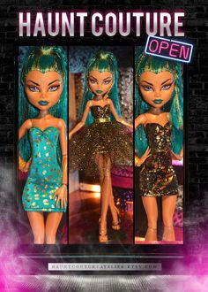 Nefera demanded some new looks so Haunt Couture came through for her! Included in this are 2 mini dresses, one in teal and gold and one in