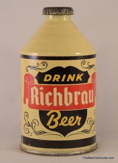 Richmond Richbrau antique beer can, unique shape.