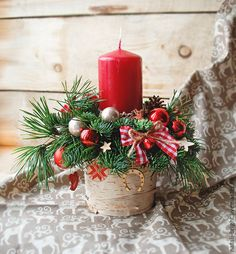 Купить Новогодняя композиция из натуральной хвои Кантри - новогодняя композиция, новогодний сувенир, новогодний подарок
