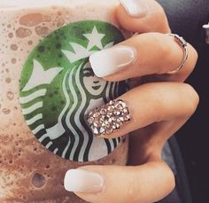 Pretty natural nails ombré white and beige bling French manicure