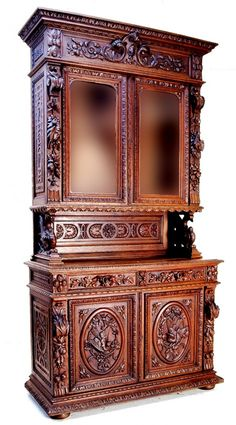 160: HENRI II STYLE WALNUT BUFFET WITH MIRRORS : Lot 160