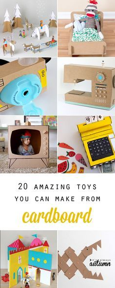 20 amazing toys you can make from cardboard - these would be great for rainy days or even for Christmas gifts! 20 coolest toys you can make from cardboard. Great ideas for kids' crafts and indoor activities, plus fun options for DIY Christmas gifts. Projects For Kids, Diy For Kids, Diy And Crafts, Craft Projects, Crafts For Kids, Summer Crafts, Craft Ideas, Diy Gifts For Kids, Project Ideas