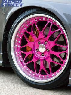 Pink hub caps