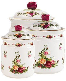 Brand New Royal Albert Old Country Roses Canisters Set of Pre order. Brand New Royal Albert Old Country Roses Canisters Set of Pre order. Dimension: 45 x x cm Send us a direct message to inquire.