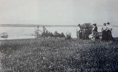 """Bogø Badehotel """"Søvang"""", tidligt i 1900-tallet. Udsigt fra hotellets have. Postkort i Det Kongelige Biblioteks Kort- og Billedsamling."""