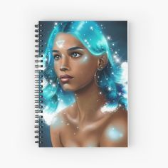 'Portrait of a Water Element' Spiral Notebook by KanoelaniArt Digital Portrait, Portrait Art, Notebooks, Journals, Artist Alley, Get Free Stuff, Water Element, Notebook Design, Galaxy Art