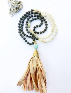 Labradorite Mala, Mala Necklace, Mala Beads, Knotted Mala, Moonstone Mala, Beaded Necklace, Prayer Beads, Sari Silk Tassel Mala, Mala, LMSS by VibeJewelryAnnaK on Etsy