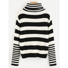 High Neck Contrast Striped Sweater ❤ liked on Polyvore featuring tops, sweaters, high-neck tops, high neck sweater and high neckline tops
