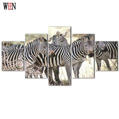 Framed 5Pcs Zebras Group Canvas Art Wall Pictures For Living Room HD Animal Print Large Modern Cuadros Decoracion Wall Poster #Affiliate