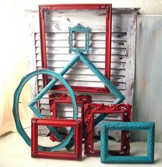 Hey, I found this really awesome Etsy listing at https://www.etsy.com/listing/164843397/turquoise-and-red-vintage-ornate-frames