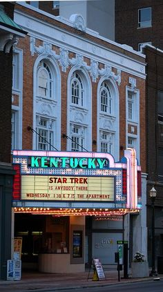 This is the Kentucky Theater in downtown Lexington. There used to be old theaters like this all across America in the 60s and 70s but it seems like none of them are still standing, nonetheless actually being used. The Kentucky Theater is a great place to watch movies downtown.