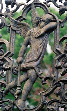 Cemetery cherub on a gate Cemetery Angels, Cemetery Statues, Cemetery Art, Angel Statues, Statue Ange, Linderhof, Old Cemeteries, Graveyards, I Believe In Angels