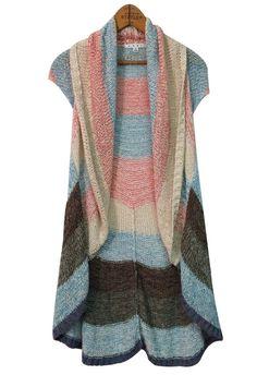 CAbi Line Up Circle Vest Open Crochet Cardigan Sweater #216 Sz S Boho Knit Small #CAbi #Cardigan