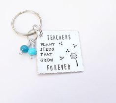 Teacher Gift Handstamped teachers keyring End Of Term Gift (We receive commissions for purchases made through this link.)