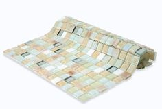 "Shop 11 3/4"" x 11 3/4"" Whimsical Casablanca Polished + Stained Glass & Mirror Tile in White, Iridescent, Cream, Metallic Gold, Hint of Bronze at TileBar.com."