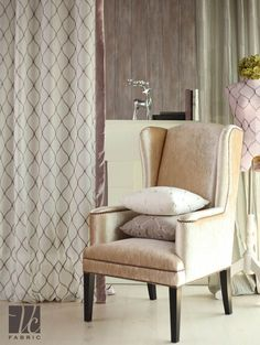 7 คอลเลคชั่นผ้าม่านสไตล์ Feminine - VC Fabric | VC Fabric Decor, Wingback Chair, Chair, Curtains, Furniture, Accent Chairs, Fabric, Home Decor, Curtain Styles