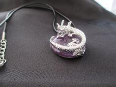 Amethyst Dragon Necklace Round Amethyst by AmethystWaysFairies
