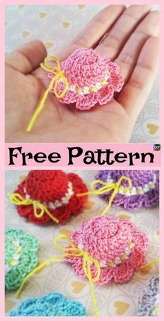 6 Cutest Crochet Mini Hat Free Patterns Shop accessories f Thread Crochet, Love Crochet, Crochet Gifts, Crochet Motif, Crochet Flowers, Hat Crochet, Crochet Dolls Free Patterns, Barbie Patterns, Accessoires Barbie