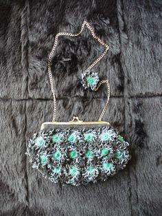 Silver flowers crochet purse created by LeeLu