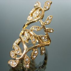 New Arrivals Unique Gold Fashion Leaves Rhinestone Ring Charm Jewelry
