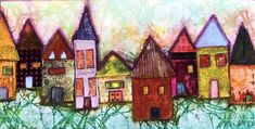 I have been a little obsessed with painting houses this year! Using a variety of collage elements and techniques, these neighborhoods make me smile. Won't you join me, be my neighbor and create one of your own??