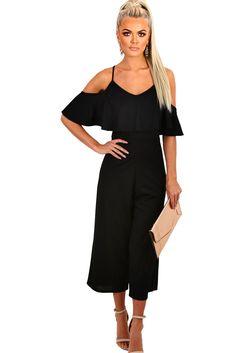 59dd28f615da Black Frill Culotte Jumpsuit. Black RomperBlack RuffleBlack JumpsuitCulotte  PantsTrousersRompers WomenJumpsuits ...