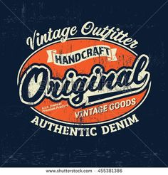 Typography vintage outfit brand logo print for t-shirt. Retro artwork vector illustration