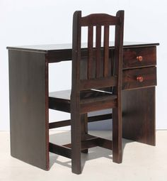 Condition:  Used  Stained Solid Pine Desk with Two Drawers and Chair  size of desk: 970 L x 490 W x 760 H  size of chair: 410 L x 410 W x 960 H  R750 for desk and chair  Cell 076 706 4700  Tel 021 - 558 7546  www.furnicape.co.za  0217