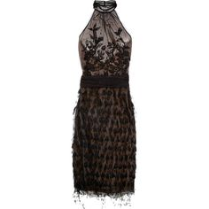 Alberta Ferretti Feather and bead-embellished mesh dress ($6,415) ❤ liked on Polyvore