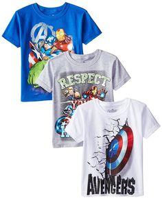 Marvel Boys' 3-Pack T-Shirt, Blue/Gray/White, 7