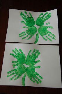 In Lieu of Preschool: St. Patrick's Day: Four Leaf Clover Hand Print Art
