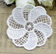 100pcs DIY hair clothing accessories water soluble lace 4.8cm white lace patch, contact BDJIN@FOXMAIL.COM for more details