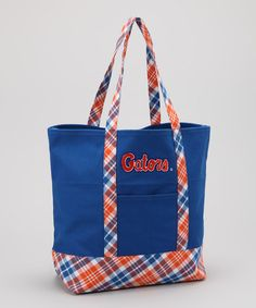Take a look at this Blue Plaid Florida Canvas Tote by Pomegranate Collegiate on #zulily today!