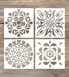 GSS Designs Pack of 4 Wall Stencils Inch Laser Cutting Tiles Stencil Templat. GSS Designs Pack of 4 Wall Stencils Inch Laser Cutting Tiles Stencil Template for DIY Home Dec Wall Stencil Patterns, Stencil Templates, Stencil Designs, Paint Designs, Stencil Painting On Walls, Fabric Painting, Wallpaper Stencil, Stencil Art, Stenciling