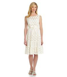 J.R. Nites Tiered Eyelet Lace Dress | Dillards.com