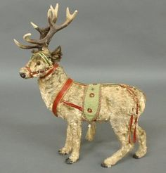 German Victorian standing reindeer, with glass : Lot 328 German Christmas, Old Fashioned Christmas, The Night Before Christmas, Christmas Past, Victorian Christmas, Christmas Items, Country Christmas, Vintage Christmas, Christmas Deer